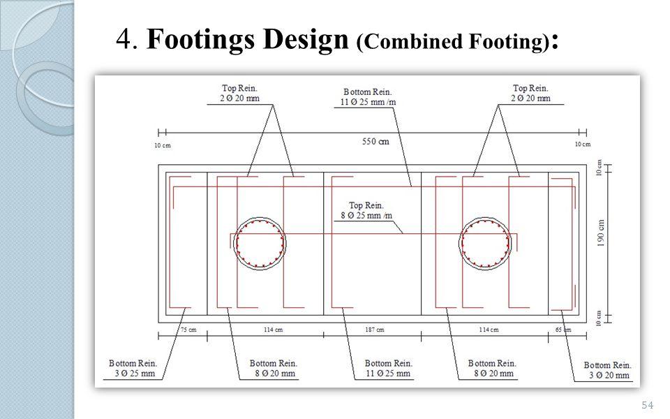 4. Footings Design (Combined Footing) : 54