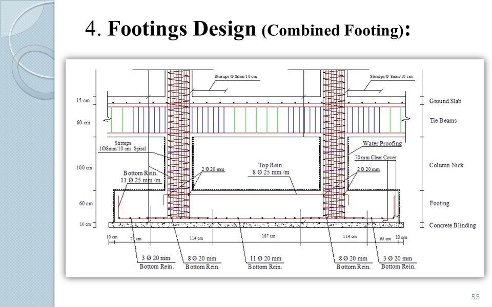 4. Footings Design (Combined Footing) : 55