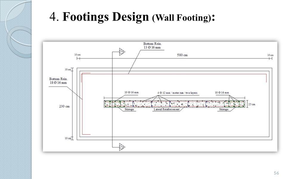4. Footings Design (Wall Footing) : 56