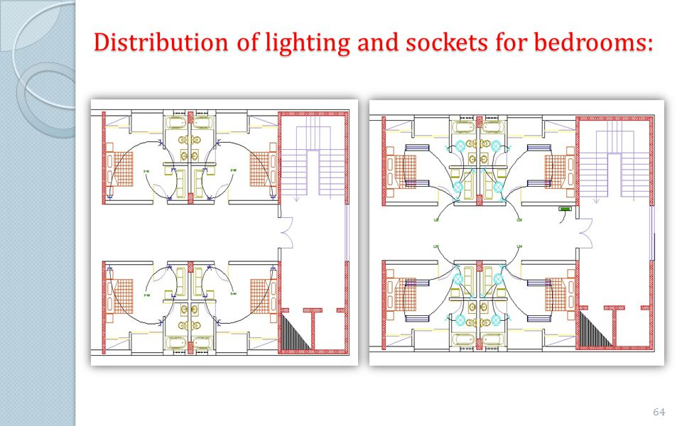 Distribution of lighting and sockets for bedrooms: 64