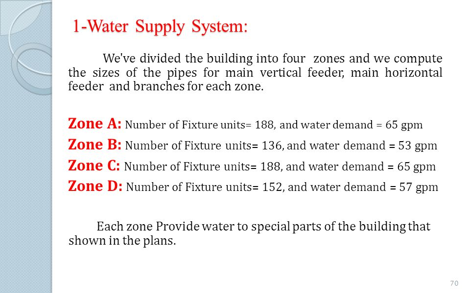 1-Water Supply System: We've divided the building into four zones and we compute the sizes of the pipes for main vertical feeder, main horizontal feed