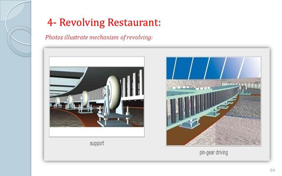 4- Revolving Restaurant: Photos illustrate mechanism of revolving: 84