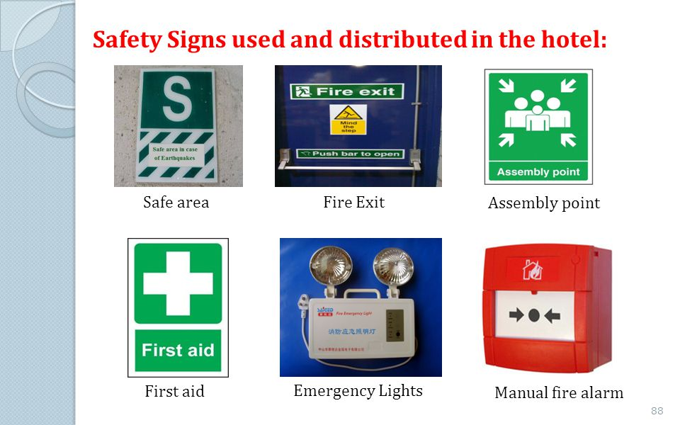 Safety Signs used and distributed in the hotel: Safe area Fire Exit Assembly point First aid Emergency Lights Manual fire alarm 88