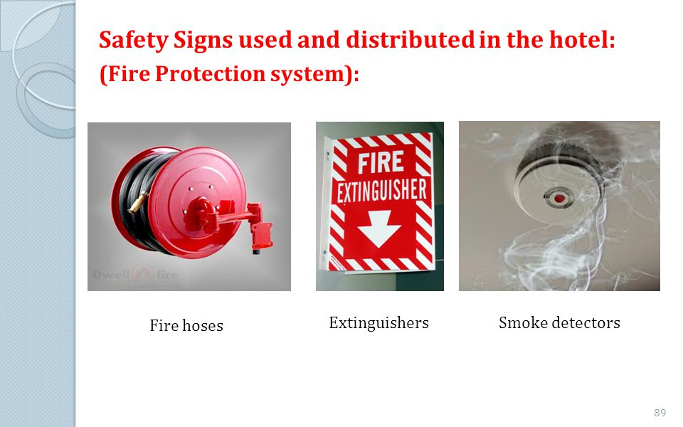 Safety Signs used and distributed in the hotel: (Fire Protection system): Fire hoses ExtinguishersSmoke detectors 89
