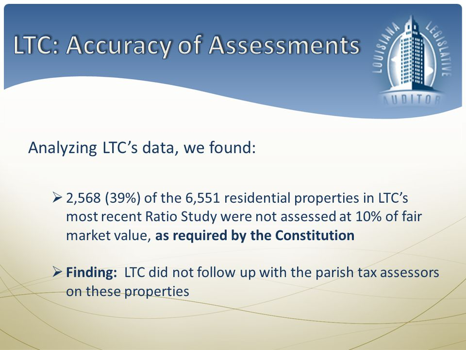 Analyzing LTCs data, we found: 2,568 (39%) of the 6,551 residential properties in LTCs most recent Ratio Study were not assessed at 10% of fair market