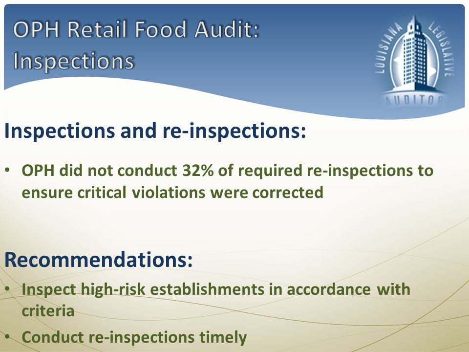 OPH did not conduct 32% of required re-inspections to ensure critical violations were corrected Inspections and re-inspections: Recommendations: Inspect high-risk establishments in accordance with criteria Conduct re-inspections timely