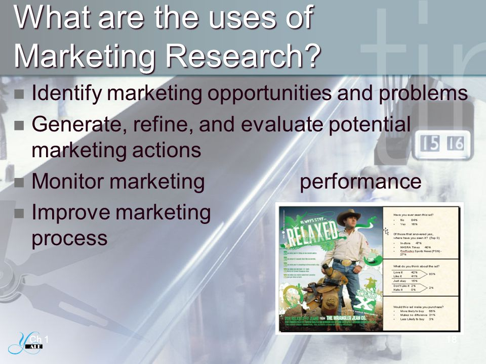 What are the uses of Marketing Research? Identify marketing opportunities and problems Generate, refine, and evaluate potential marketing actions Moni