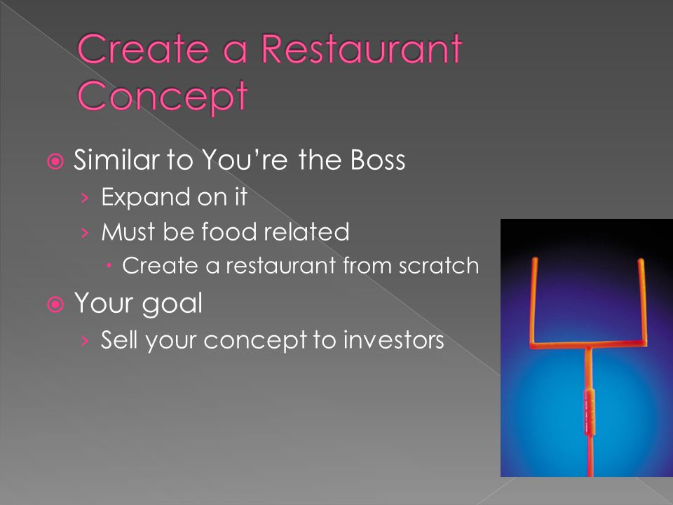 Similar to Youre the Boss Expand on it Must be food related Create a restaurant from scratch Your goal Sell your concept to investors
