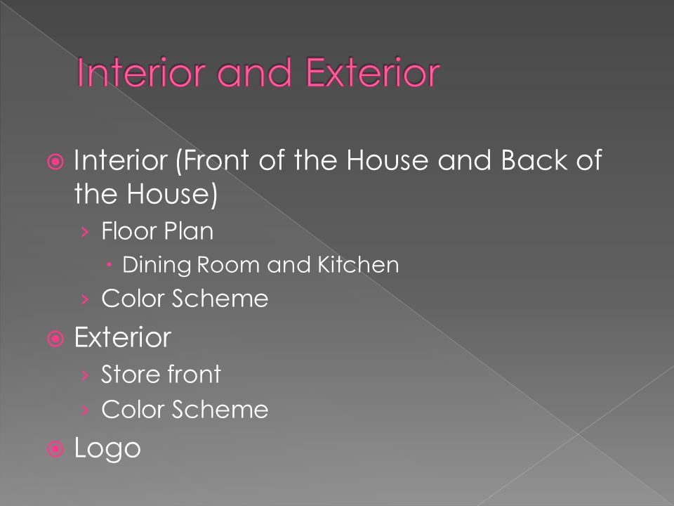 Interior (Front of the House and Back of the House) Floor Plan Dining Room and Kitchen Color Scheme Exterior Store front Color Scheme Logo
