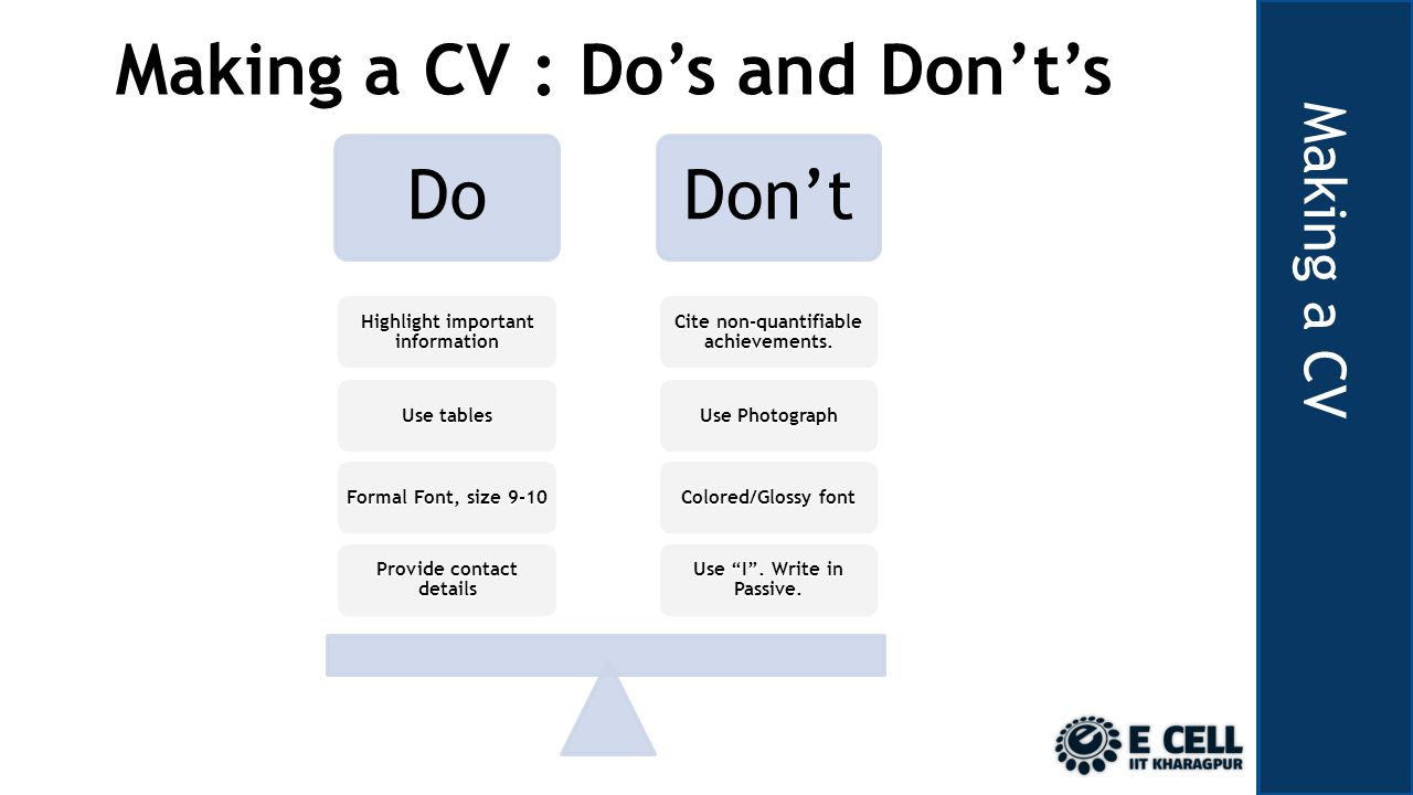 Making a CV Making a CV : Dos and Donts DoDont Use I.