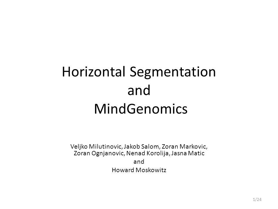 Horizontal Segmentation and MindGenomics Veljko Milutinovic, Jakob Salom, Zoran Markovic, Zoran Ognjanovic, Nenad Korolija, Jasna Matic and Howard Moskowitz 1/24