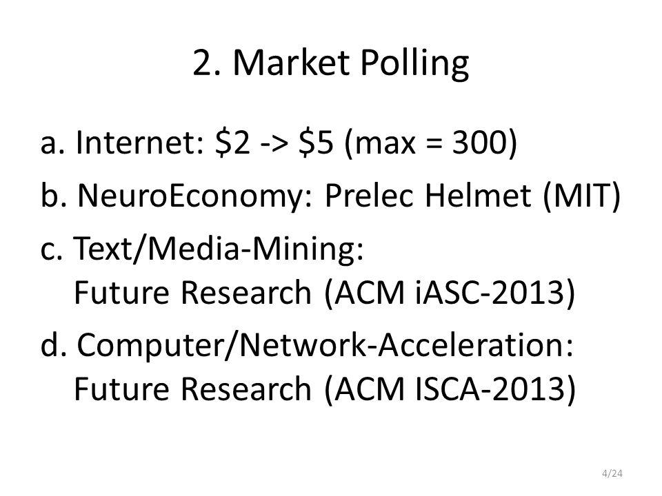 2. Market Polling a. Internet: $2 -> $5 (max = 300) b.