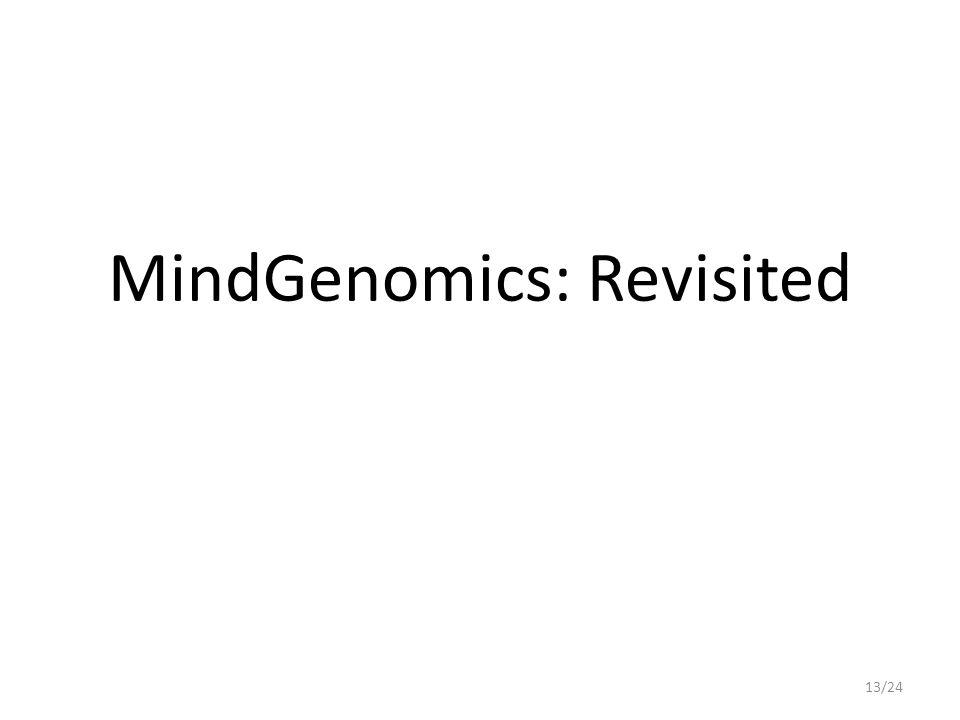 MindGenomics: Revisited 13/24