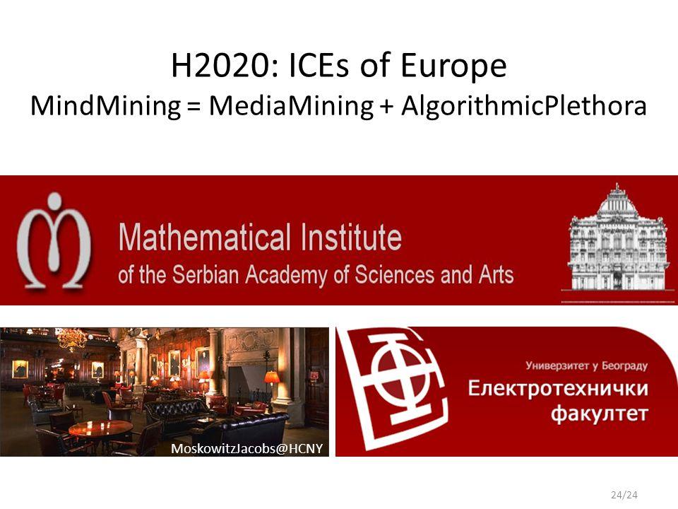 H2020: ICEs of Europe MindMining = MediaMining + AlgorithmicPlethora 24/24 MoskowitzJacobs@HCNY