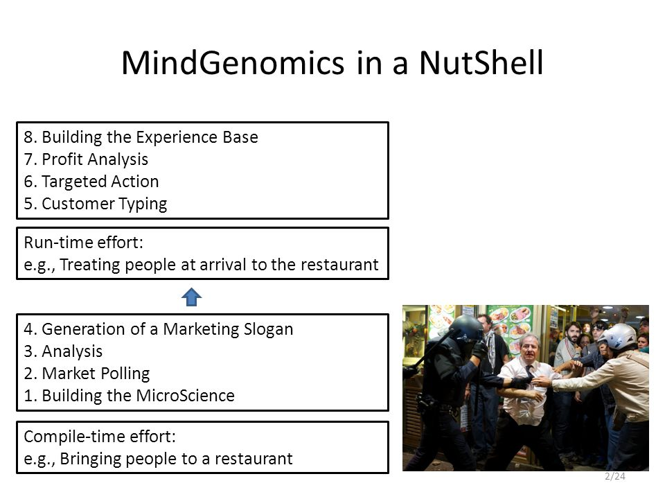 MindGenomics in a NutShell 8. Building the Experience Base 7.