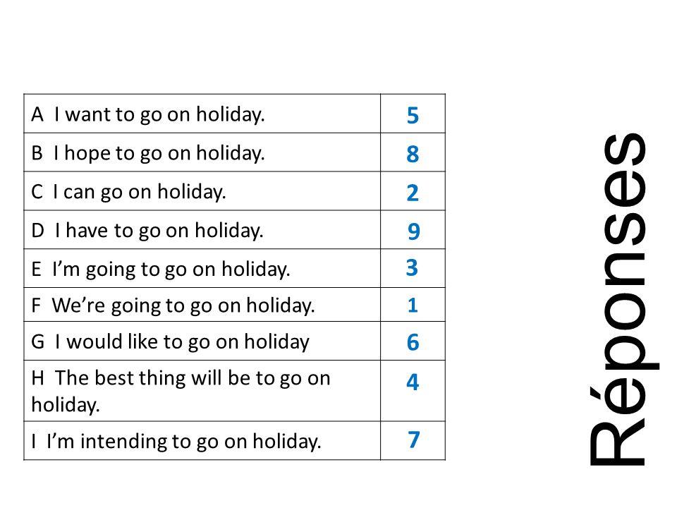 A I want to go on holiday. B I hope to go on holiday.