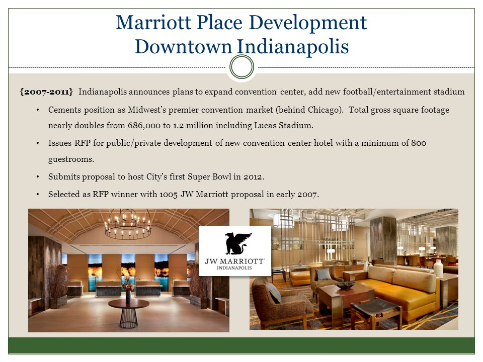 Marriott Place Development Downtown Indianapolis { } Indianapolis announces plans to expand convention center, add new football/entertainment stadium Cements position as Midwests premier convention market (behind Chicago).
