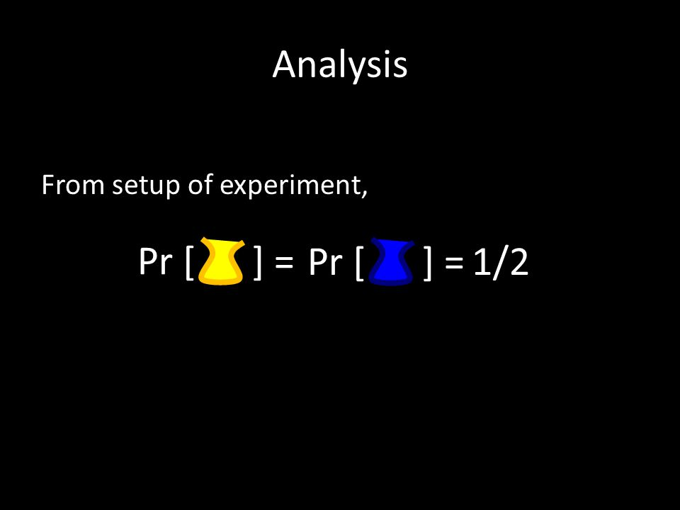 Analysis From setup of experiment, Pr [ ] = 1/2