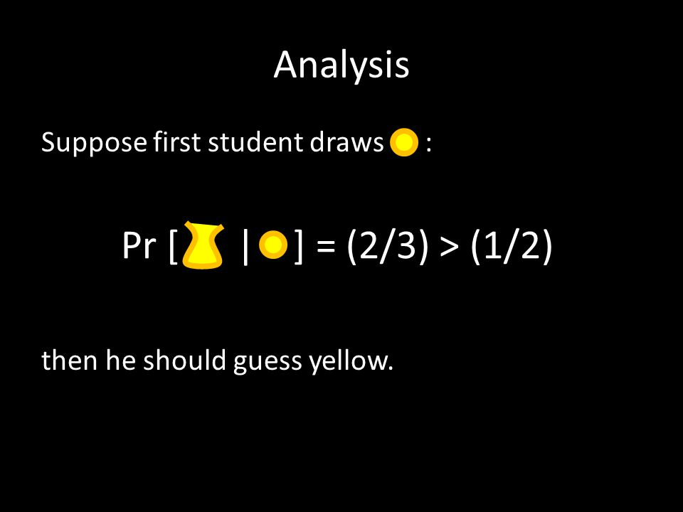 Analysis Suppose first student draws : then he should guess yellow. Pr [ | ] = (2/3) > (1/2)