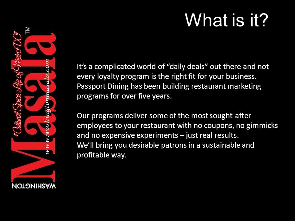 How it works.We create a comprehensive marketing program specifically for your restaurant.