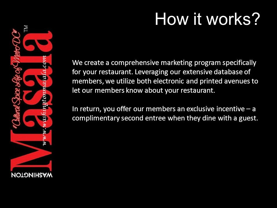 How it works. We create a comprehensive marketing program specifically for your restaurant.