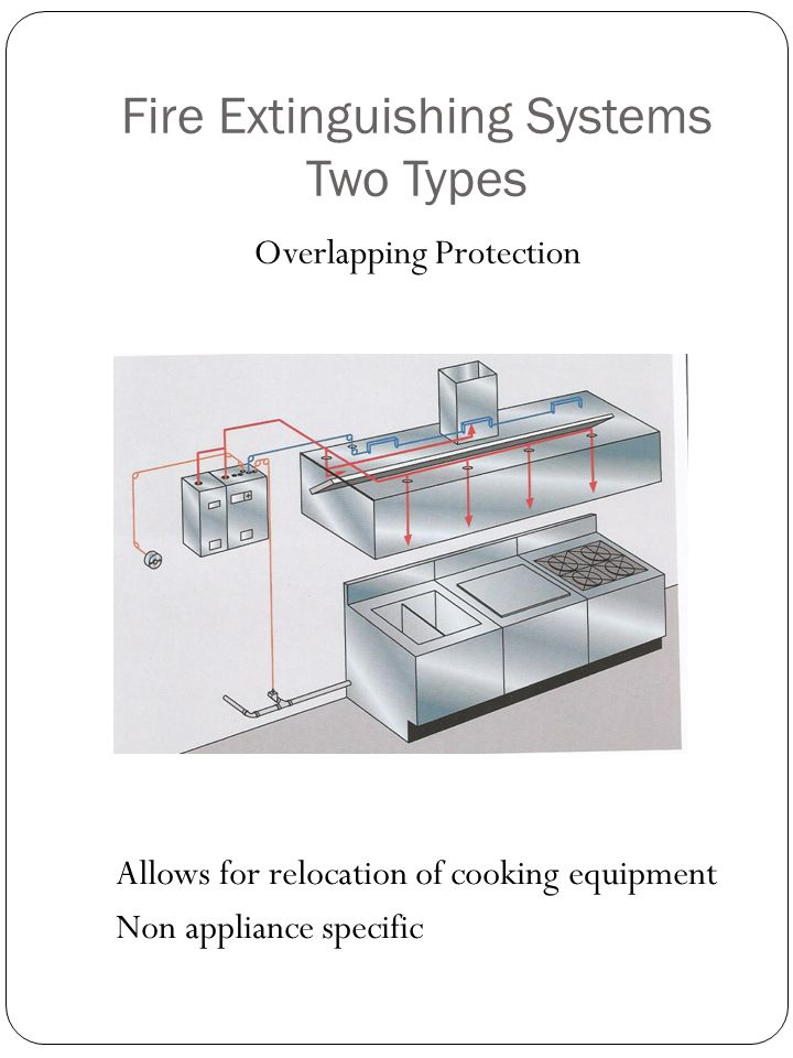 Fire Extinguishing Systems Two Types Overlapping Protection Allows for relocation of cooking equipment Non appliance specific
