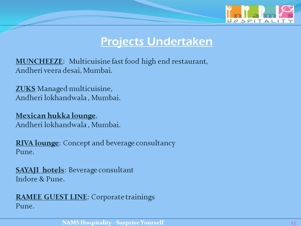 13 Projects Undertaken MUNCHEEZE: Multicuisine fast food high end restaurant, Andheri veera desai, Mumbai. ZUKS Managed multicuisine, Andheri lokhandw