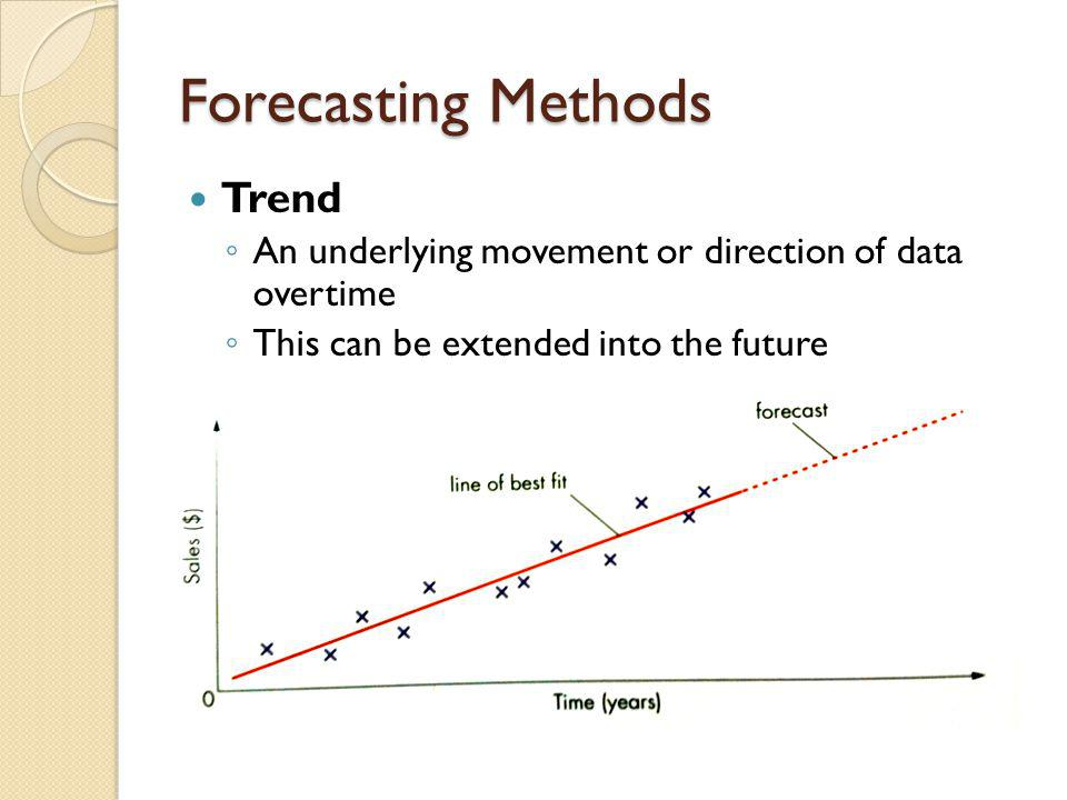 Forecasting Methods Trend A n underlying movement or direction of data overtime T his can be extended into the future