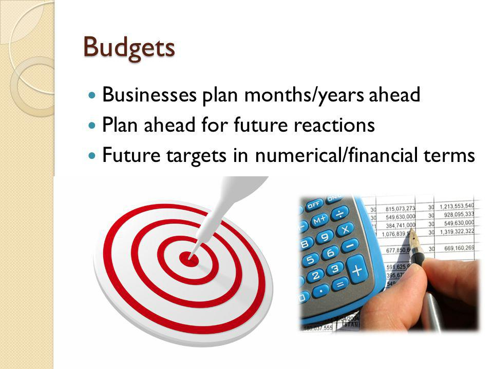 Budgets Businesses plan months/years ahead Plan ahead for future reactions Future targets in numerical/financial terms
