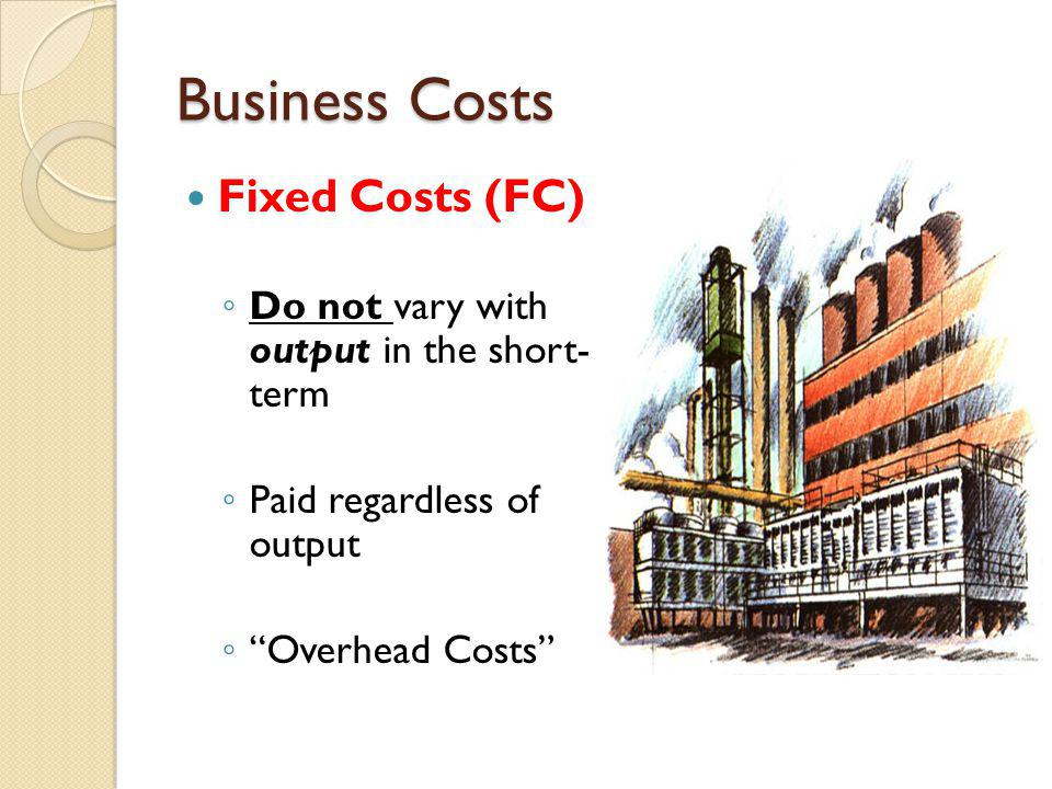 Business Costs Variable Costs (VC) V ary with output C osts directly associated with output Direct Costs