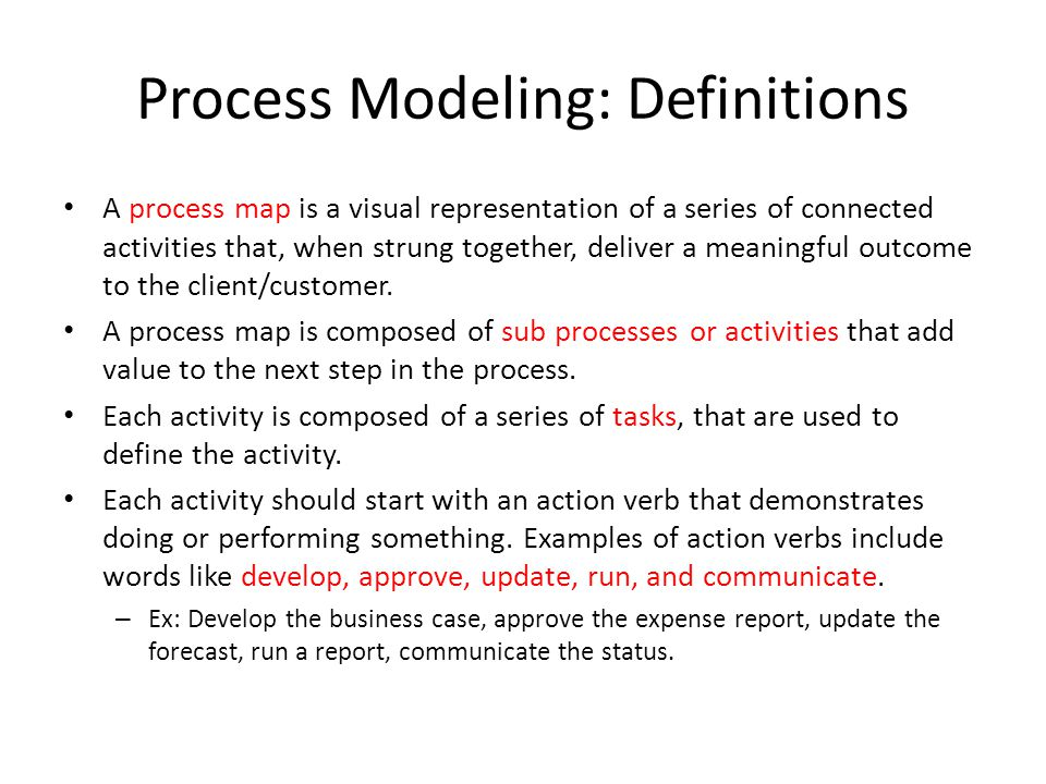 Process Modeling: Definitions A process map is a visual representation of a series of connected activities that, when strung together, deliver a meani