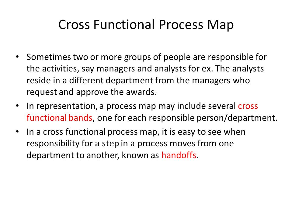 Cross Functional Process Map Sometimes two or more groups of people are responsible for the activities, say managers and analysts for ex. The analysts