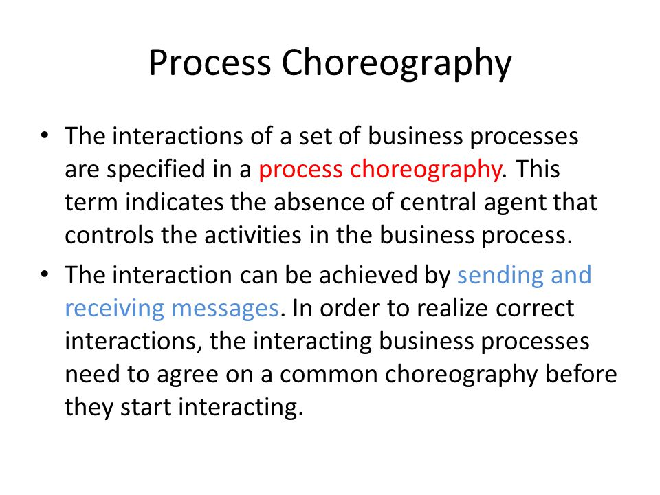 Process Choreography The interactions of a set of business processes are specified in a process choreography.