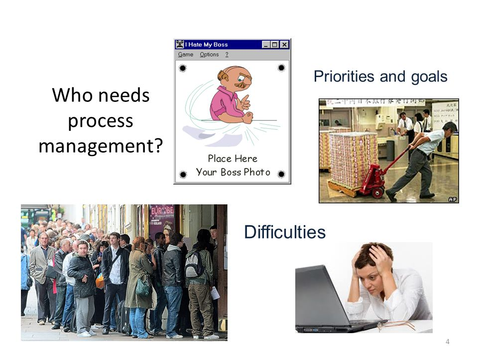 Who needs process management Difficulties Priorities and goals 4
