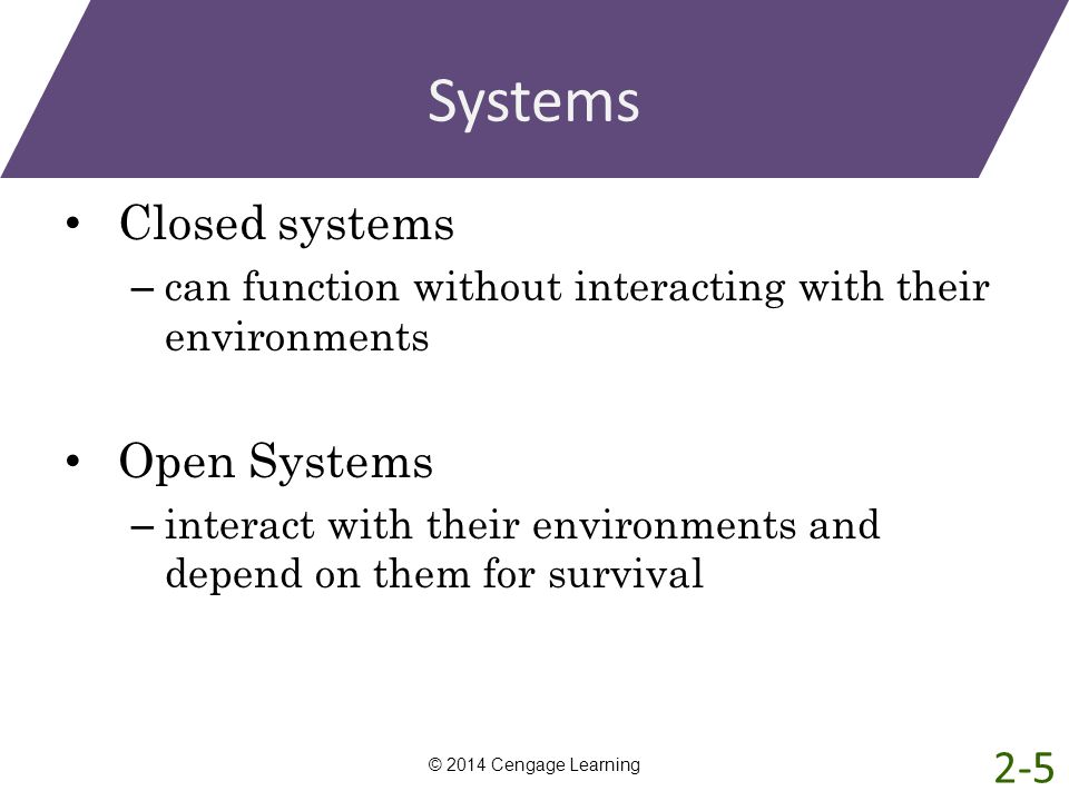 Systems Closed systems – can function without interacting with their environments Open Systems – interact with their environments and depend on them f