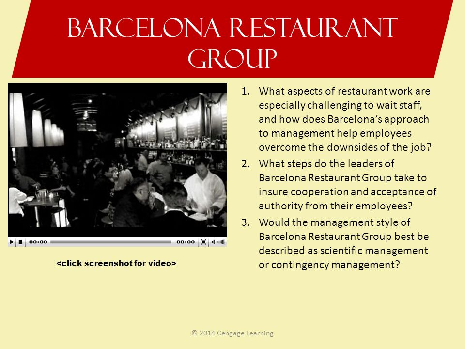Barcelona Restaurant Group 1.What aspects of restaurant work are especially challenging to wait staff, and how does Barcelonas approach to management