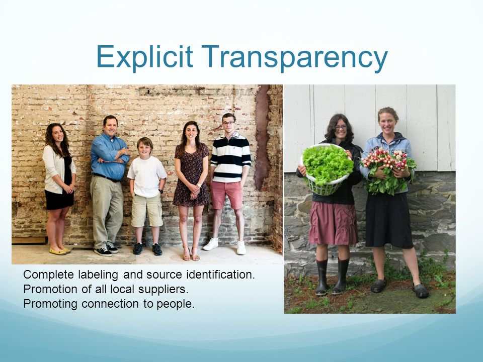 Explicit Transparency Complete labeling and source identification.