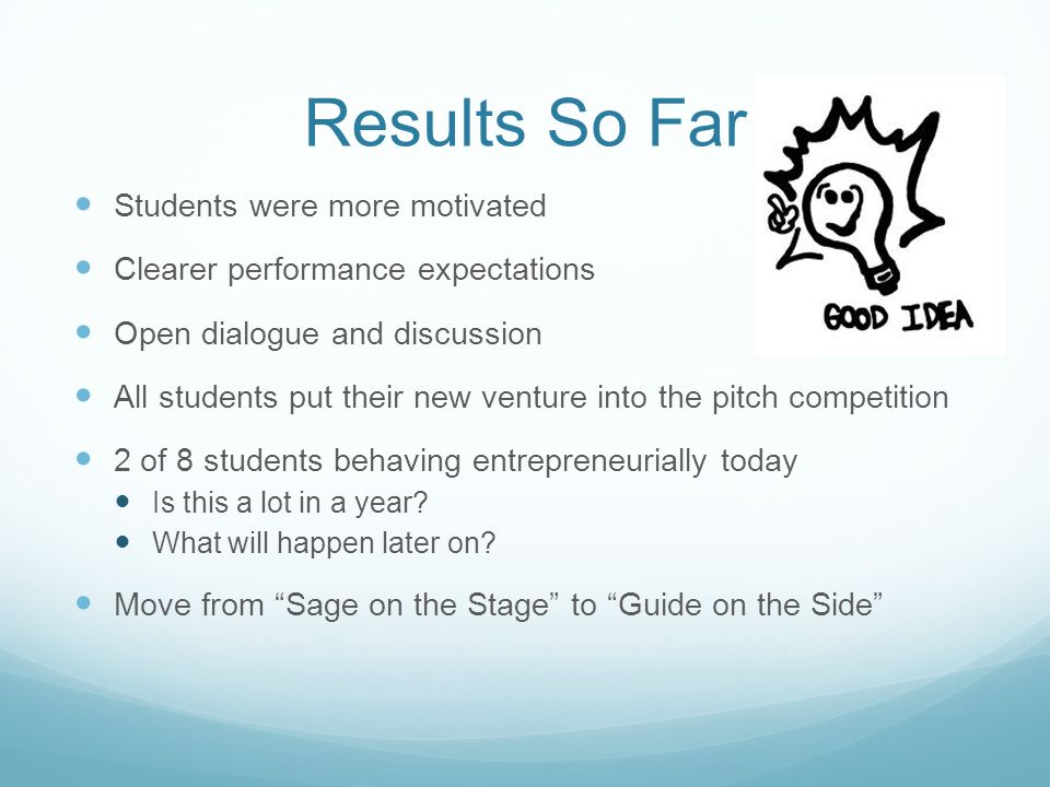 Results So Far Students were more motivated Clearer performance expectations Open dialogue and discussion All students put their new venture into the pitch competition 2 of 8 students behaving entrepreneurially today Is this a lot in a year.