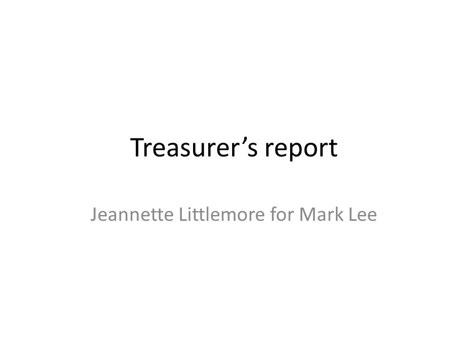 Treasurers report Jeannette Littlemore for Mark Lee