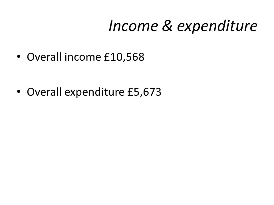 Income & expenditure Overall income £10,568 Overall expenditure £5,673