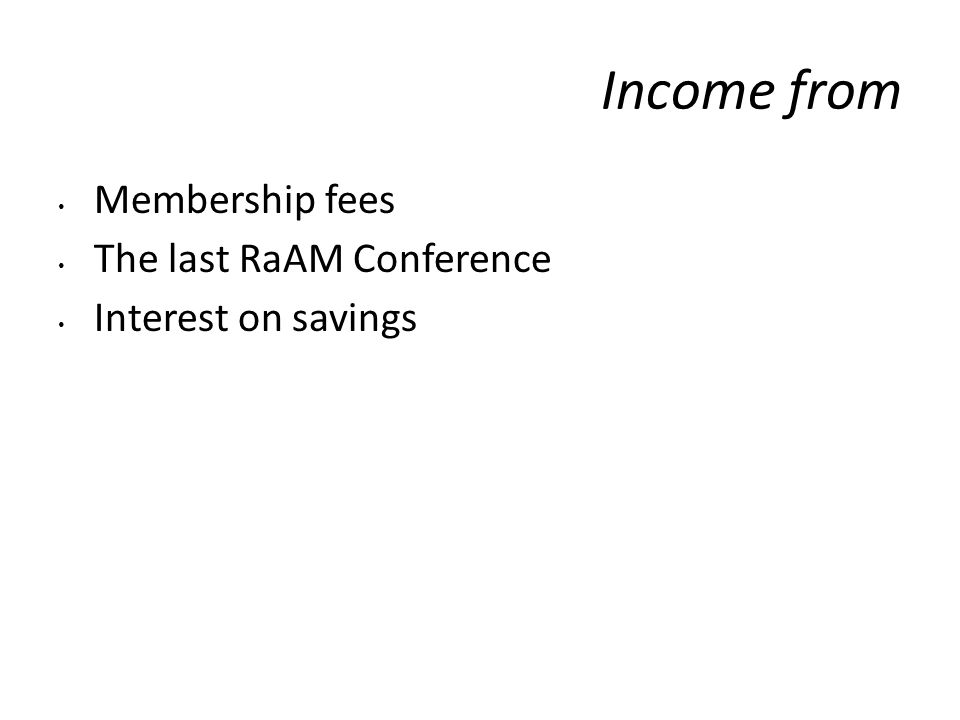 Income from Membership fees The last RaAM Conference Interest on savings