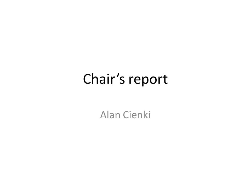 Chairs report Alan Cienki