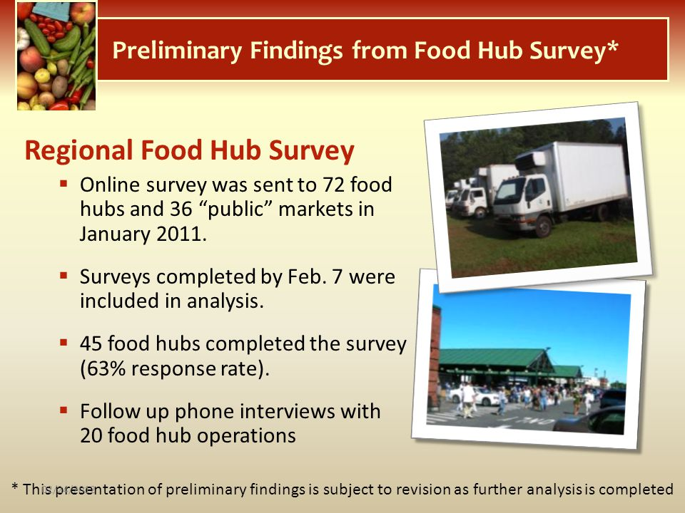 Preliminary Findings from Food Hub Survey* * This presentation of preliminary findings is subject to revision as further analysis is completed Regiona