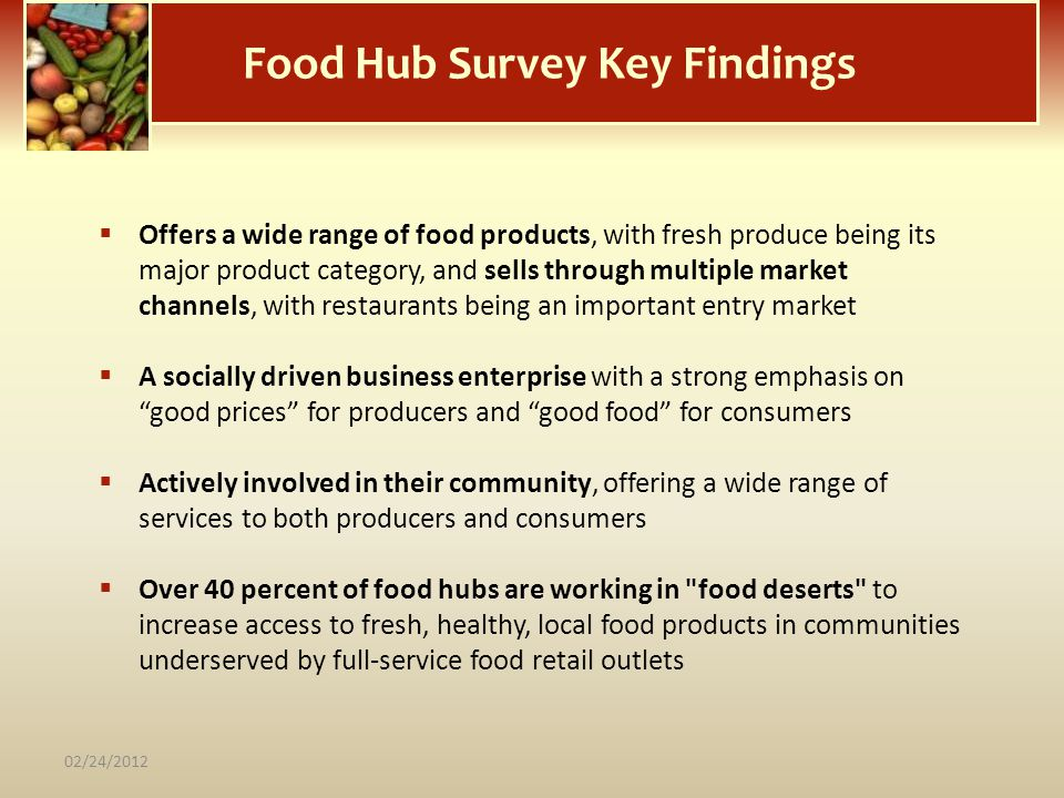 Food Hub Survey Key Findings Offers a wide range of food products, with fresh produce being its major product category, and sells through multiple mar