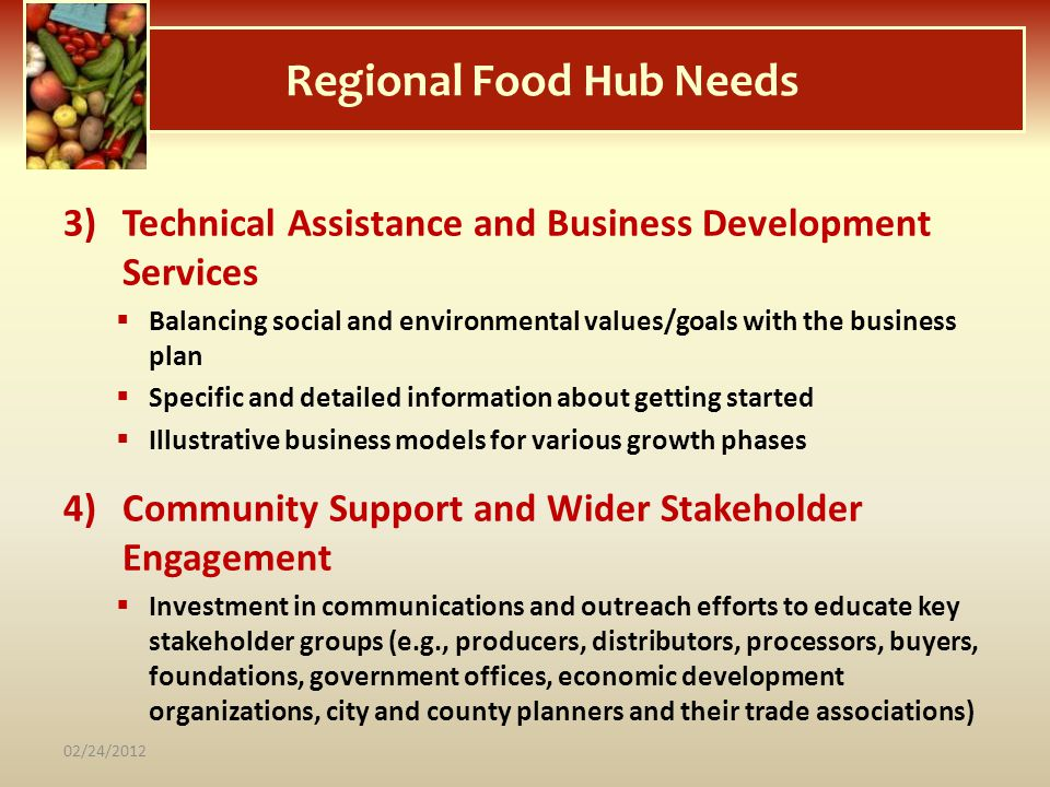 Regional Food Hub Needs 3)Technical Assistance and Business Development Services Balancing social and environmental values/goals with the business pla