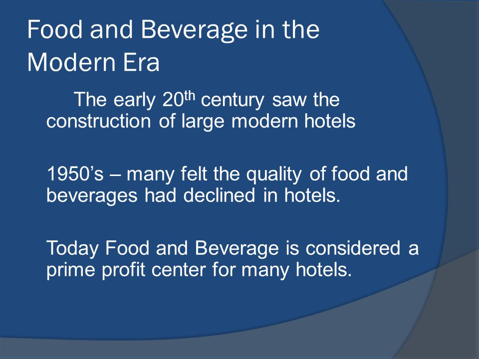 The Future of Food Service Home Meal Replacements QSR – new foods and higher quality items More entertainment in casual restaurants More offering in non traditional stores (7- 11) Comfort foods, Fusion Cuisine, Healthy choices Green Restaurants Improved Technologies