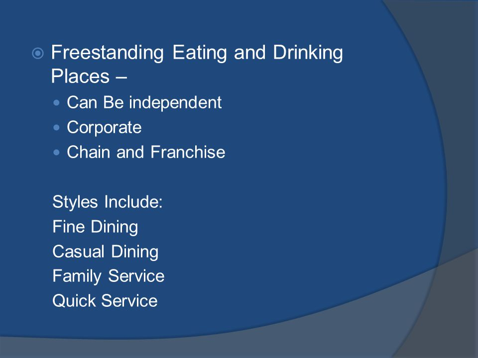 Lodging Food Service Operations Full Service A La Carte Dining – Gourmet to Family Catering Room Service Coffee shops Bars Limited Service Lobby Food Service None