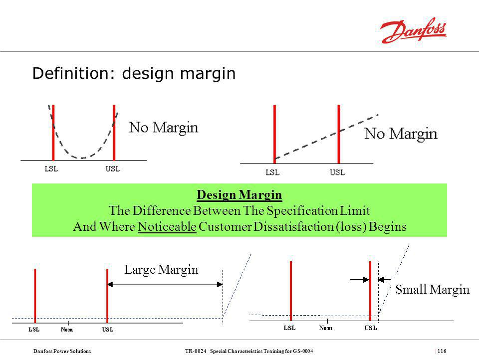 TR-0024 Special Characteristics Training for GS-0004Danfoss Power Solutions| 116 Definition: design margin Design Margin The Difference Between The Sp