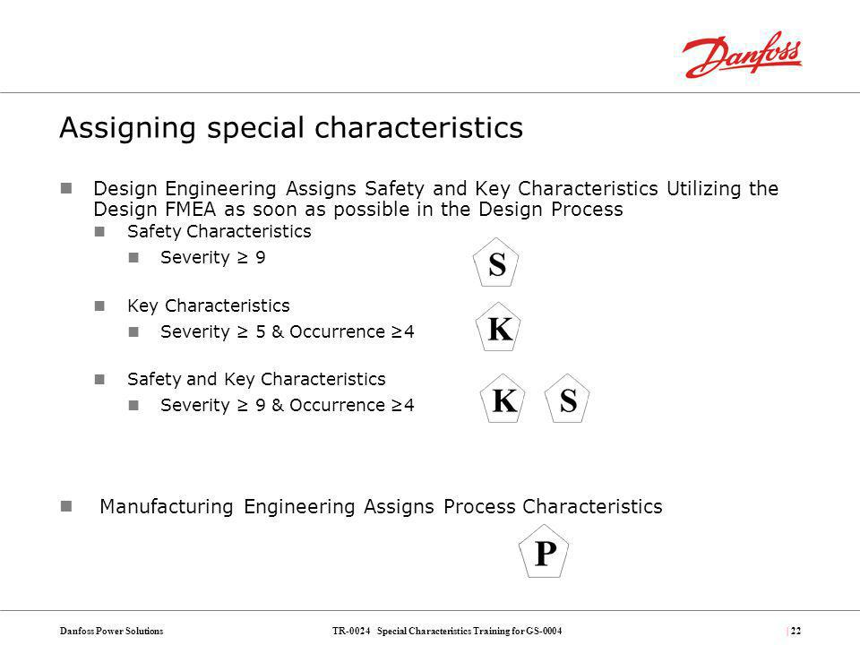 TR-0024 Special Characteristics Training for GS-0004Danfoss Power Solutions| 22 Assigning special characteristics Design Engineering Assigns Safety an