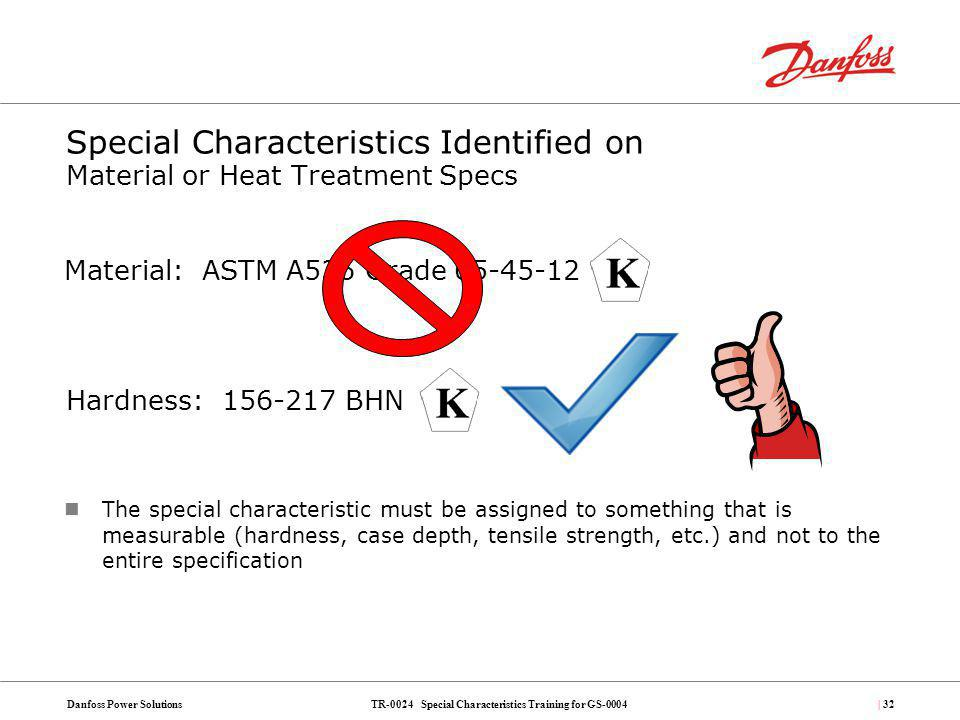 TR-0024 Special Characteristics Training for GS-0004Danfoss Power Solutions| 32 Special Characteristics Identified on Material or Heat Treatment Specs
